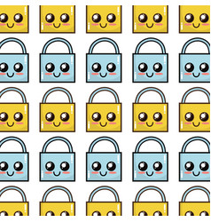 Kawaii cute happy padlock element background vector