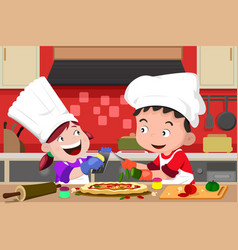 kids making pizza in the kitchen vector image