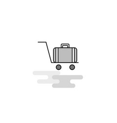 Luggage cart web icon flat line filled gray icon vector