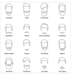 Mans hair set beards and mustaches line vector