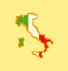Map of italy colored with italian flag vector