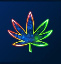 medical cannabis logo with marijuana leaf glowing vector image