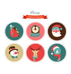 Merry christmas icons retro style elements vector