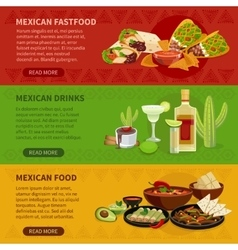 Mexican Food 3 Horizontal Banners Set vector