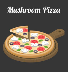 Mushroom pizza vector