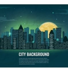 Night cityscape silhouettes with moon and space vector