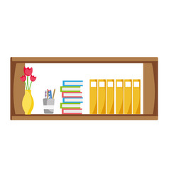 Office shelf with books and folders documents vector