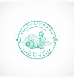 Rabbit farm framed retro badge or logo template vector