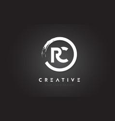 Rc circular letter logo with circle brush design vector
