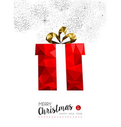 Red gift decoration for christmas greeting card vector image vector image