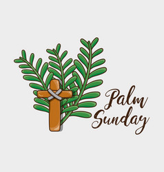 religion palm branches with catholic cross vector image