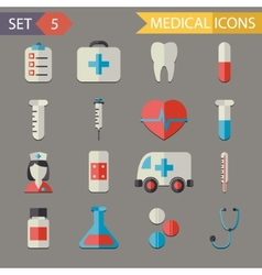 Retro Flat Medical Icons and Symbols Set vector image
