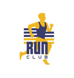 run club logo template emblem with running man vector image