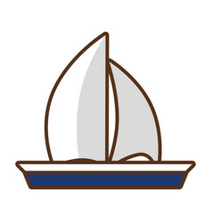 Sailing boat travel on white background vector