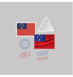 Samoa flag postage stamp set isolated on gray vector