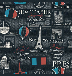 seamless background on theme france and paris vector image