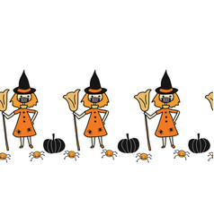 seamless border halloween witch wearing vector image