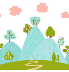 seamless border pattern with mountain hilly vector image