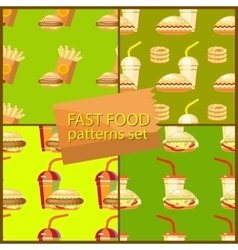 Seamless fast food background patterns set with vector image