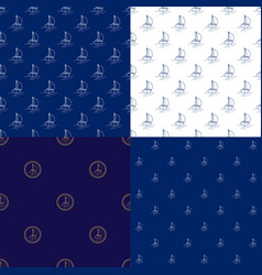 seamless maritime pattern with sailboat vector image