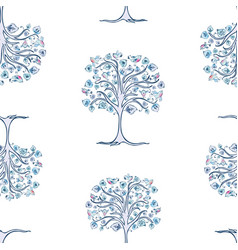seamless pattern decorative frozen trees with vector image