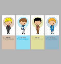 Set communion cards for boy vector