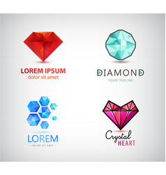 Set diamond crystal logos jewelry gem vector