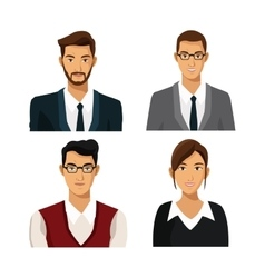 Set men woman team work business vector