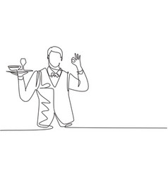 Single one line drawing waiter with gesture vector