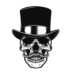 skull in vintage hat design element for poster vector image
