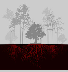 split with trees and red roots vector image