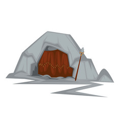 Stone age cave primitive people dwelling vector