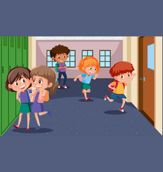students at the school hallway vector image
