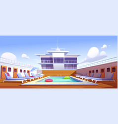 Swimming pool on cruise liner empty ship deck vector