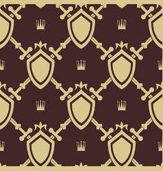 sword and shield seamless pattern vector image