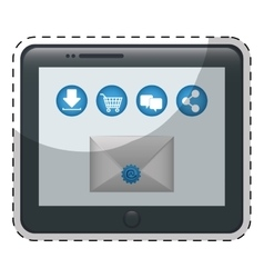 Tablet with envelope icon over vector