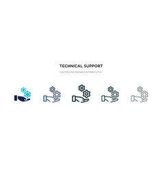 Technical support icon in different style two vector