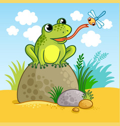 the frog sits on a large rock vector image