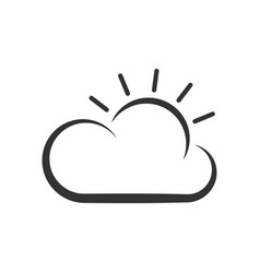 thin line icon weather sun and cloud vector image