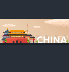 Travel banner to china flat vector
