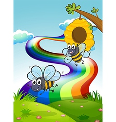 Two bees at the hilltop and a rainbow in the sky vector