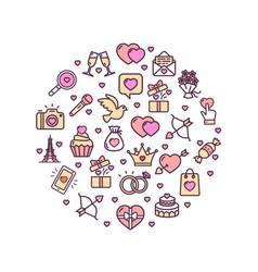 valentine love sign round design template thin vector image