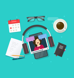 Video content creating online on work desk table vector