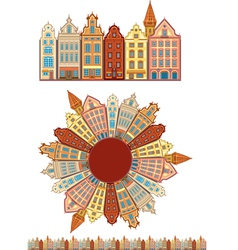 Vintage buildings seamless with pattern brush vector image
