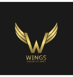 Wings w letter logo vector