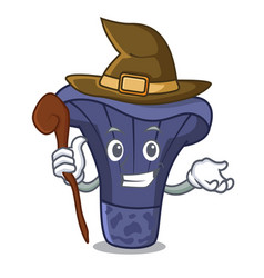 Witch actarius indigo mushroom mascot cartoon vector