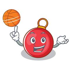 With basketball christmas ball character cartoon vector