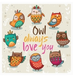 With cute owls vector