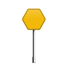 Yellow hexagon road sign on metal pole with blank vector