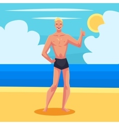 Young athletic man in swimming shorts giving thumb vector